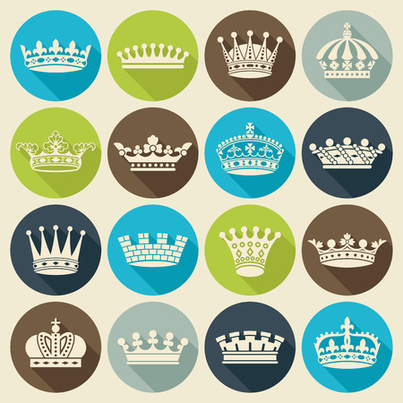shadow silhouette: Set of crown heraldic silhouette flat icons long shadow style