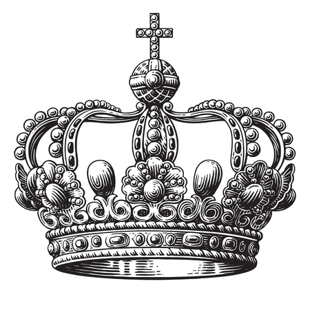 Crown hand-drawn illustration isolated on white background