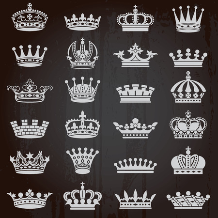 Set of crown heraldic silhouette icons