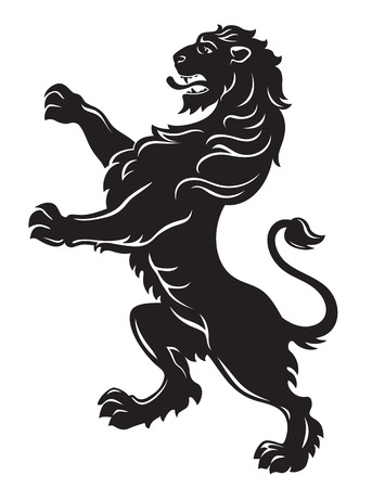 lion clipart: Heraldic roaring lion black isolated on white background