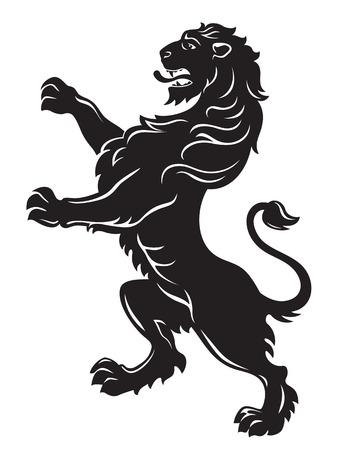 heraldic lion: Heraldic roaring lion black isolated on white background