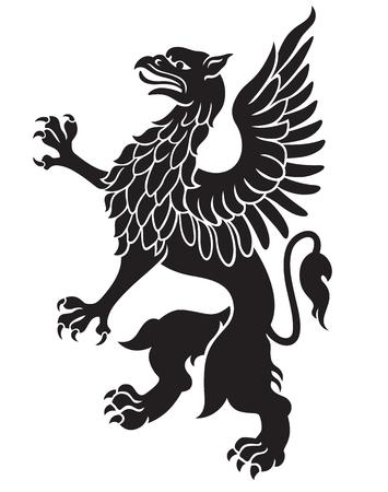oiseau dessin: Héraldique noir griffon avec des ailes isolé sur fond blanc