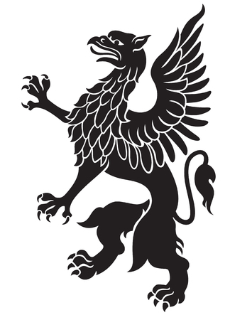 griffon: Heraldic griffin black with wings isolated on white background