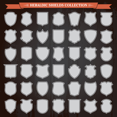 Heraldic shields frames silhouettes retro vintage design elements collection Illustration