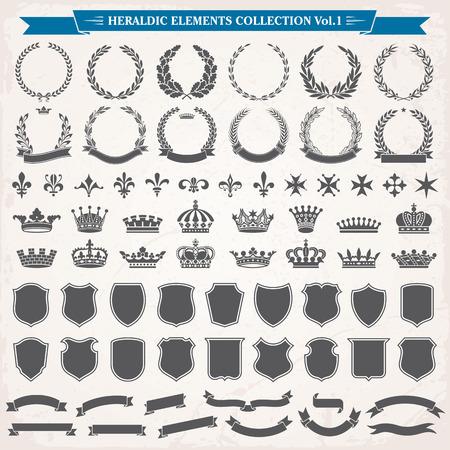 éléments héraldiques de couronnes de laurier, couronnes, boucliers de ruban, royal collection lily