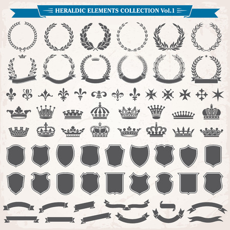 Heraldic elements laurel wreaths, crowns, ribbon  shields, royal lily collection