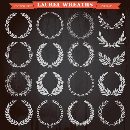 Set of laurel heraldic award wreaths Illustration