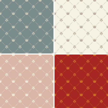 aristocracy: Crown royal lily heraldic seamless pattern in 4 colour versions Illustration