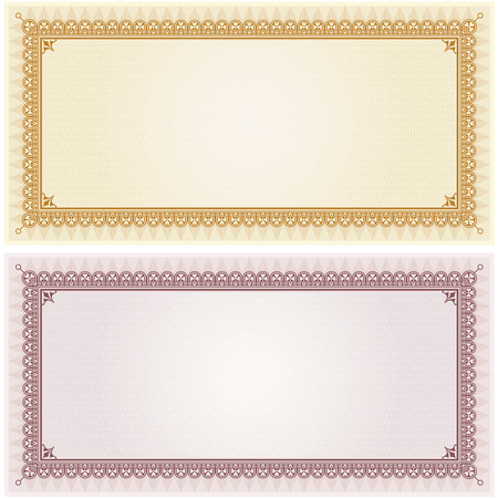 vintage document: Certificate gift coupon card blank template border frame background in gold and silver color versions