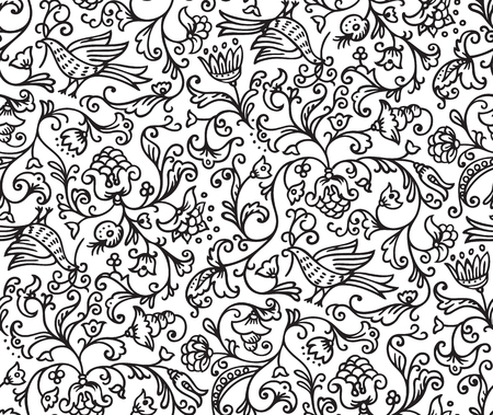 seamless floral pattern: Seamless floral pattern background with birds and flowers on white illustration