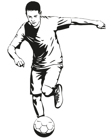 Soccer football player sportsman in motion with ball illustration Illustration