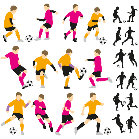 Soccer football children boys playing with ball silhouettes illustration Illustration