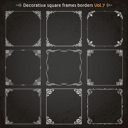 Decorative square frames borders backgrounds design elements set 7 vector