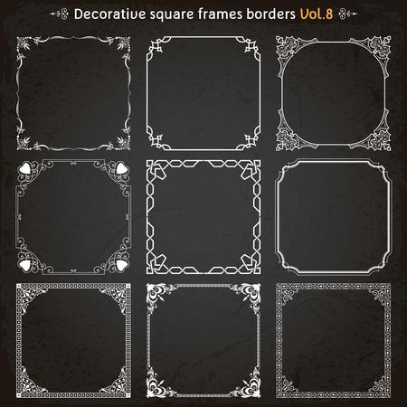 Decorative square frames borders backgrounds design elements set 8 vector