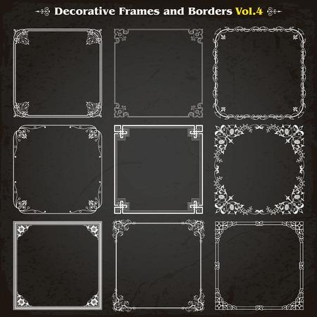 Decorative square frames borders. Illustration