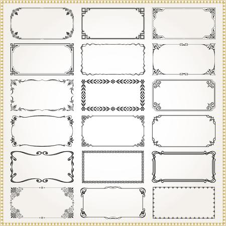 Decorative vintage frames borders rectangle illustration.