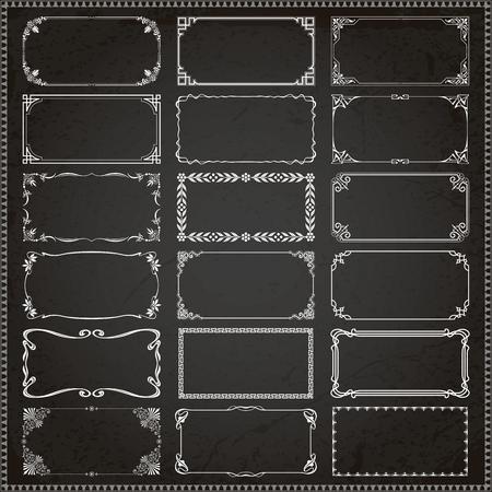 Decorative vintage frames borders backgrounds rectangle 2x1 proportions set 3 vector