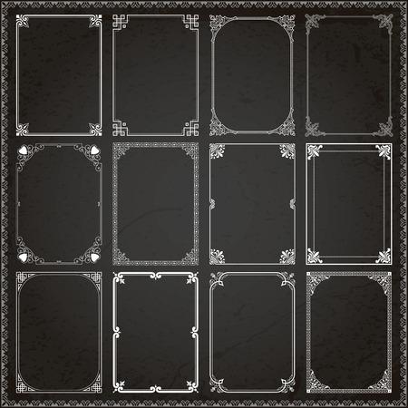 Decorative vintage frames borders backgrounds rectangle proportions set 6 vector Illustration