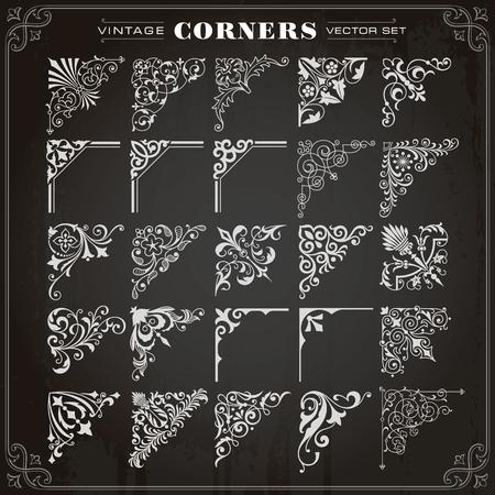 Vintage Design Elements Corners Borders Frames Set 1 Vector Illustration