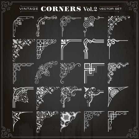 Vintage Design Elements Corners Borders Frames Set 2 Vector Çizim
