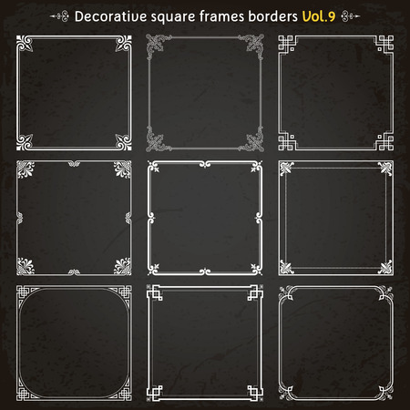 Decorative square frames borders backgrounds design, elements set of 9 vector