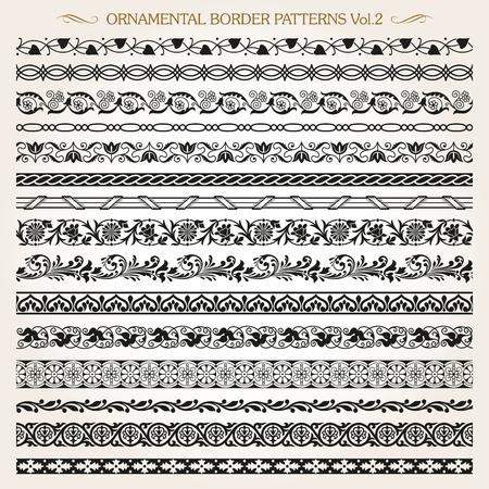 Set of vintage style ornamental border frame line pattern vector Illustration