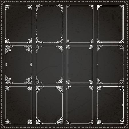 Decorative vintage frames borders backgrounds rectangle proportions set 7 vector Illustration