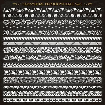 Set of vintage style ornamental border frame line patterns  vector Illustration