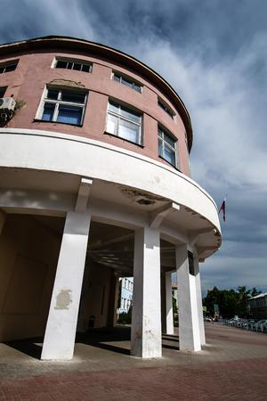Shakhty, Russia - May 19, 2018: Shakhty mining secondary school. Fragment of Soviet avant-garde constructivism style building (1930-31) Редакционное