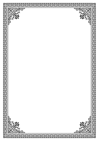 Decorative border frame background certificate template in classic A4 proportion