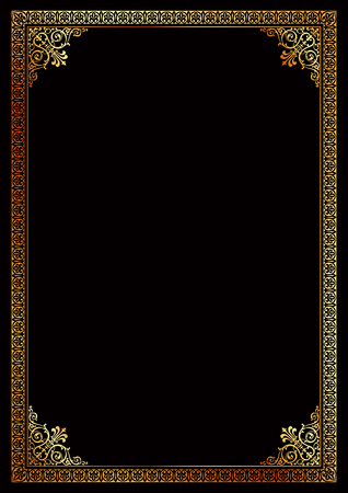 Decorative golden border frame background certificate template in classic A4 proportion