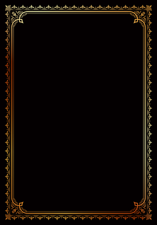 Decorative border frame background certificate book cover template gold on black in classic A4 proportion