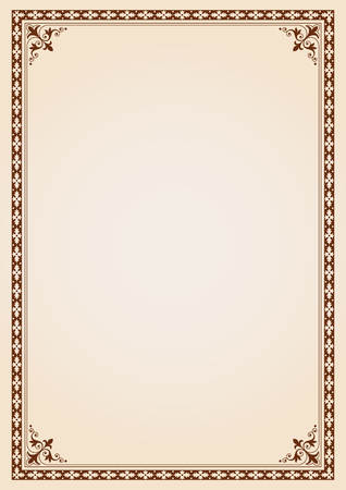 Decorative border frame background certificate book cover template in classic A4 proportion Stock Illustratie