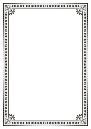 Decorative border frame background certificate book cover template in classic A4 proportion Иллюстрация