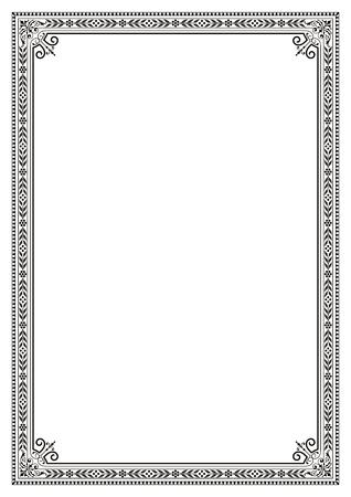 Decorative border frame background certificate book cover template in classic A4 proportion Ilustração