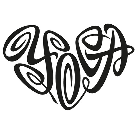 Love Yoga Word Handdrawn Lettering In The Shape Of Heart Sign Emblem