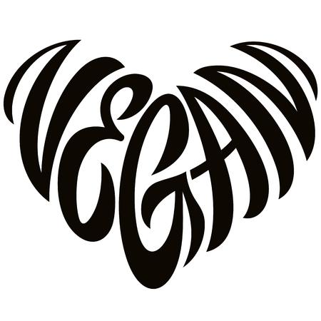 Love Vegan Word Handdrawn Lettering In The Shape Of Heart Sign Emblem Иллюстрация