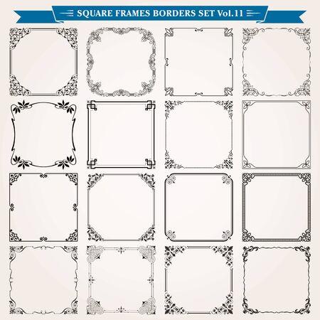 Cadres carrés décoratifs frontières arrière-plans éléments de conception set 11 vector Vecteurs