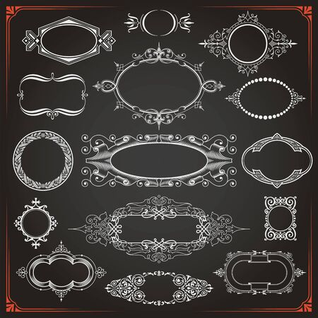 Decorative vintage rounded circle and oval frames borders backgrounds set