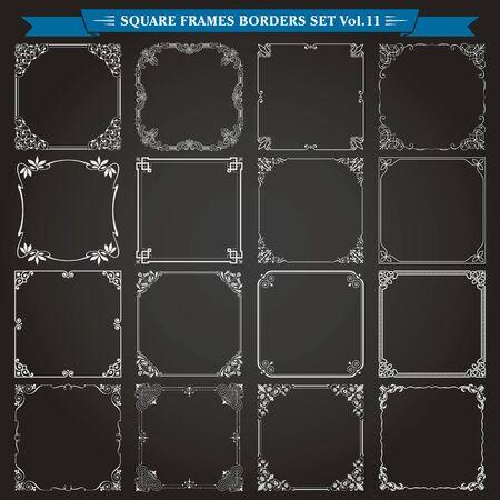 Cornici quadrate decorative bordi sfondi elementi di design set 11 vector Vettoriali