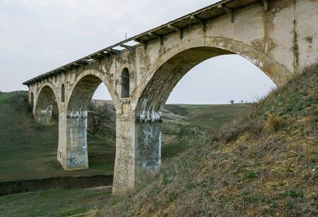 Old railway viaduct ruined bridge 'Veselovskiy' in steppe between Stavropol and Armavir, Russia 版權商用圖片