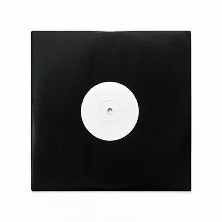 Ten inch single vinyl record with blank label in black cardboard sleeve isolated on white background