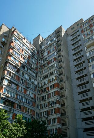Residential buildings in Rostov-on-Don, Russia, Soviet modernism era brutalism style