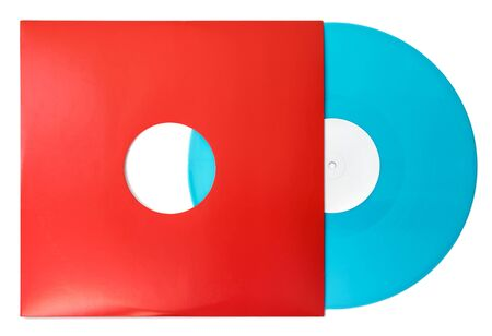 Twelve inch album LP color blue green vinyl record with blank label in red cardboard sleeve