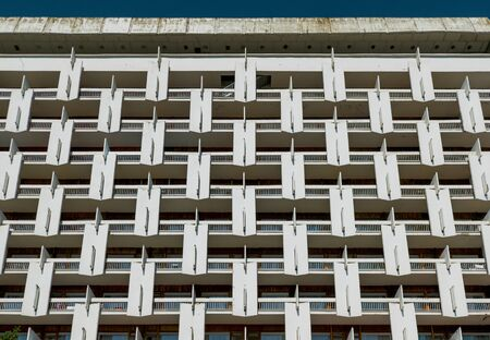 Facade detail of sanatorium in Pyatigorsk, Russia, Soviet modernism era brutalism building