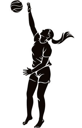 Woman beach volleyball player hitting the ball silhouette illustration isolated on white background