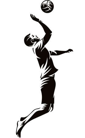 Man beach volleyball player hitting the ball silhouette illustration isolated on white background 向量圖像