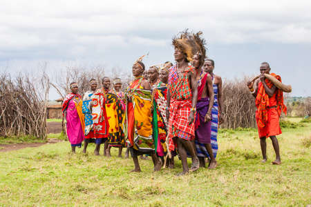 Maasai Villagers singing and dancing