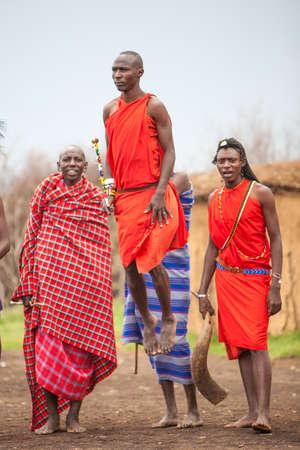 Maasai Men jumping into air