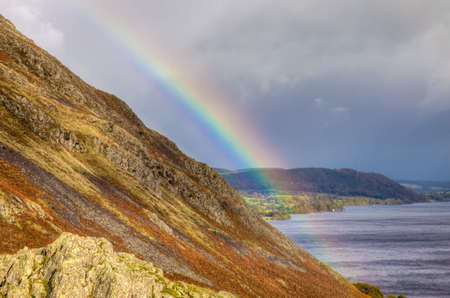 Rainbow over Ulswater Head Lake District, Cumbria, England Stock Photo - 24925010